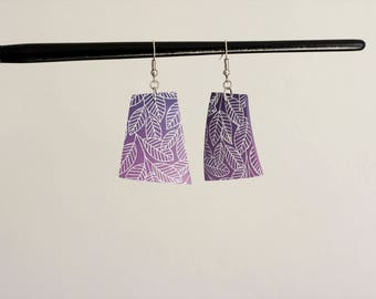 Polymer clay earrings, leaves earrings, purple earrings, big polygonal earrings, leaves earrings, hippie earrings, boho earrings