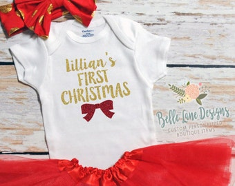Baby Girl Christmas | First Christmas baby | Baby Girl First Christmas | Girl 1st Christmas | Girl Personalized Christmas Shirt | 131