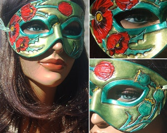 August Birthstone Peridot and Poppy Leather Mask - Limited Edition 1 of 10 Floral Flower Art Nouveau Mardi Gras Masquerade