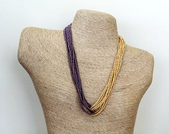 Gold and Purple Seed Bead Necklace. Beaded Necklace. Multicolor Necklace.  Two Tone Necklace. Multistrand Necklace. Gold Beaded Necklace