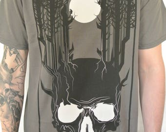 Woodland Night Dark Horror Style Mens T-Shirt