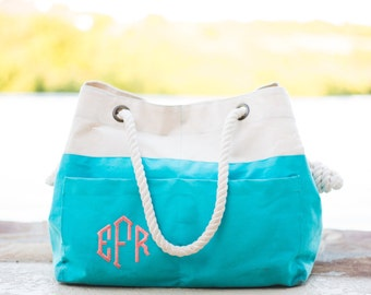 Monogrammed Canvas Beach Tote | Bridesmaid Gift | Beach Tote Bag | Canvas Tote Bag | Rope Beach Bag | Pool Bag | Monogrammed Gift | Beaufort