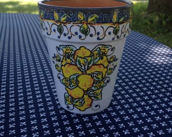 Mediterranean Tuscan Kitchen Lemon Flower Pot Planter, Rustic Mediterranean Cache Pot, Blue & White w/ Yellow Lemons, Hostess, Gardener Gift