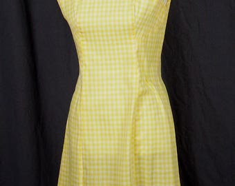 1960s Little Ray of Sunshine Yellow and White Gingham Sundress