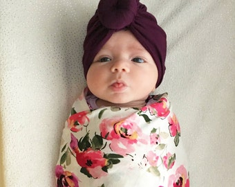 Baby Turban Hat in Plum, Turban Bun Hat, Turban Top Kbot Hat, baby beanie, Baby Hat, Baby Turban