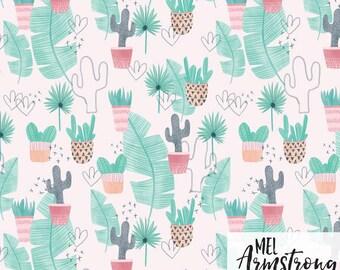 "Fabric, ""Tropical Baby"" design, 100% cotton"