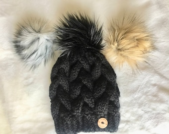 Braided Cable Beanie // Black with Faux Fur Pom Pom