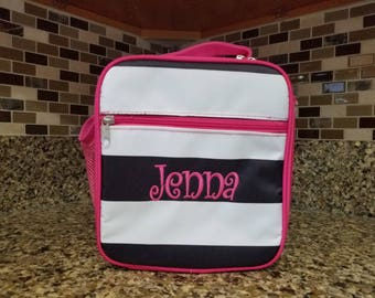 Black w/ Pink White Stripe lunch bag w/ Detachable Shoulder Strap with Personalized Name or Monogram-School lunch bag