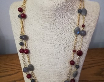 Grey and red gemstone necklace with Ruby root
