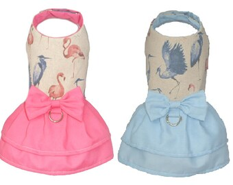 Dog dress water birds flamingos herons pink blue  XXS - M size for small dog chihuahua