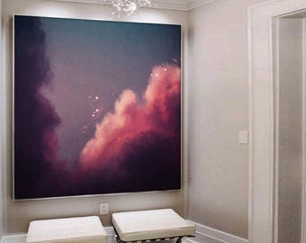 Extra Large Wall Art Canvas, Large Art Pink Abstract Painting, Abstract Original Art, Oversize Wall Art, Extra Large Painting, Cloud Art