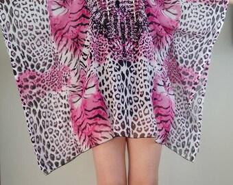 Pink Kaftan,  Top, Kaftan,Caftan, Beach cover up, kaftan dress, Loose dress,Short Dress