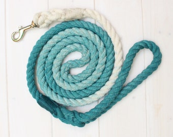 Custom Dog Leash, Puppy Leash, Rope Leash, Dog Rope Leash, Teal Rope Leash, Dog Leash, Teal Ombre Rope Leash, Ombre Rope Leash