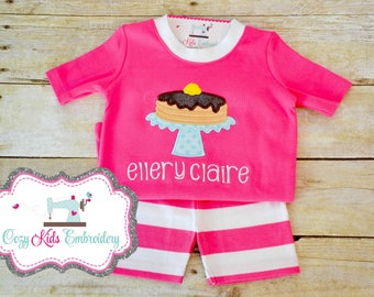 Pancake Birthday Pajamas, Pancake Pajamas, Pancake PJ, Summer Pajamas, Girl Pajama, Boy Pajama, Custom Pajama, embroidery, applique