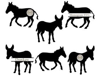 Donkey Svg, Donkey monogram svg, animal svg, farm animal svg, Donkey Silhouette files, Cricut files, donkey cut files, svg, dxf, eps, png.