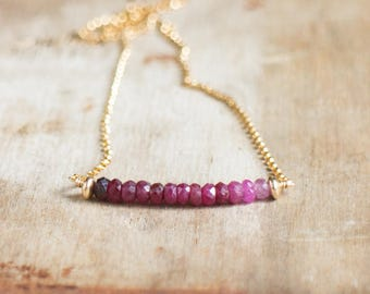 Ombre Ruby Necklace, July Birthstone, Gold or Silver Ruby Ombre Necklace, Genuine Ruby Jewelry, Berry Red Gemstone Bar Necklace