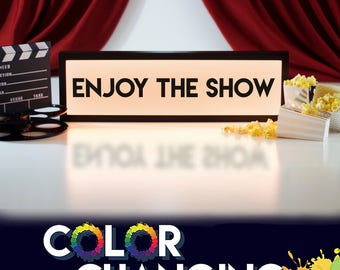Theater Sign, Enjoy the Show, Movie Sign, Movie Room Decor, Theater Room Sign, Light Up Sign, Home Theater Decor, Home Cinema