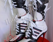 Custom made July - Harley Quinn suicide squad  boots - Cosplay Hand Made