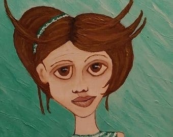 "OOAK Acrylic 9"" x 12"" Painting on Canvas titled ""Pretty in Green"""