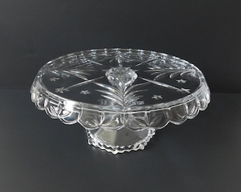 Vintage Mikasa Celebrations Christmas Night Glass Footed Cake Plate, Christmas Cake Stand, Holiday Serving
