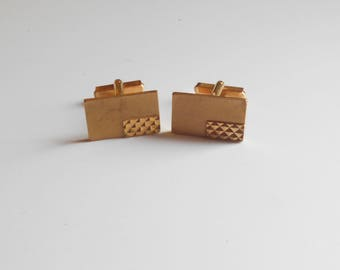 French Vintage 1970's Men Cufflinks. GOLD Plated, Marked, Gift Idea.