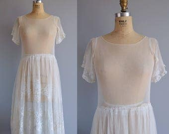 Tiphaine wedding dress - vintage 1920s tulle and lace dress - Art Deco embroidered dress