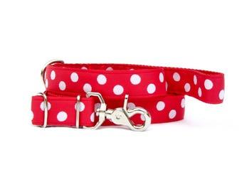 """red polka dot adjustable 4'-6' DOG Leash~ 1"""" wide"""