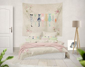 cat tapestry Cats Tapestries Large Tapestry Large Wall Tapestry Cat Wall art Beige Tapestry Cat Decor large wall decor cat wall hanging