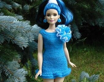 Curvy Barbie dress, curvy barbie clothes, curvy barbie, barbie dress, barbie fashion, fashion royalty, curvy dress, barbie knitted, blue