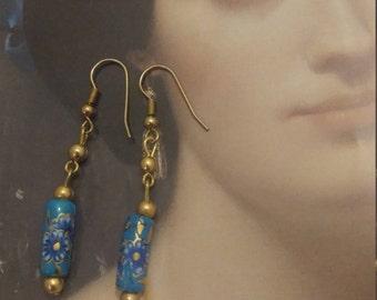 Boho earrings. Floral earrings. Blue earrings. Victorian floral earrings. Valentine's gift for her.