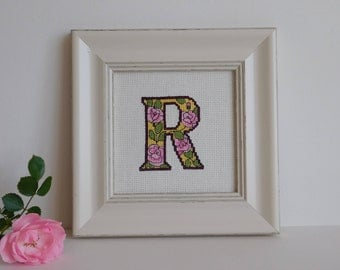 Monogram Wall Art Gift For Her, Initial Letter Wall Decor, Framed  Letter R, Birthday Gift for Her, Cross Stitch Picture, First Name Letter