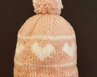 Hand Knit Toddler Heart Hat Pink and White