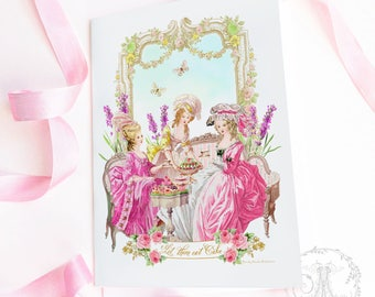 Marie Antoinette printable, party, birthday invitations, cards, Let them eat cake, instant digital download, personal, commercial use