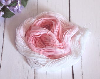 Hand Dyed Thread - Crochet / Tatting Thread - Size 20 - Pink Rose Ombre Number 1 - 49 Yards