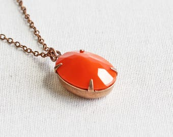 Opaque Orange Necklace, Oval Rhinestone Pendant Necklace on Antiqued Copper Plated Chain, Autumn Jewelry