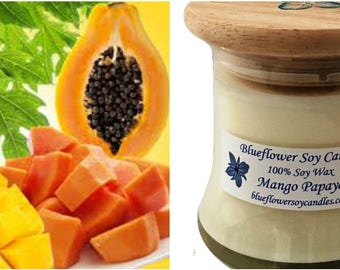 Scented Soy Candle Mango Papaya Hand Poured 12 oz Jar With Wood Lid