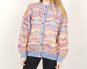 Vintage Australian Coogi Style Colorful Textured Knit Wool Cardigan Jumper Sweater // Women's size Medium M Large L