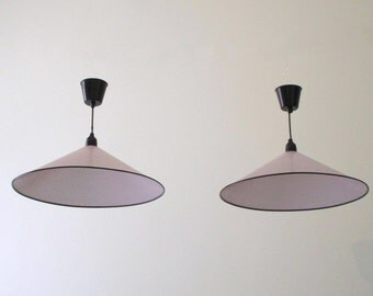 Pair French Vintage 1960s-70s White Metal Mesh Pendant Lights - Pair of Vintage Ceiling Lights - 2 Pairs Available