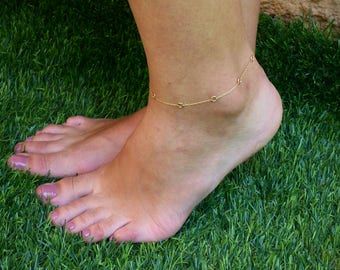 Tiny Circles Anklet, Gold Chain Anklet, Link Chain Anklet, Gold filled Chain Anklet , Gold Anklet, Feminine Anklet, everyday Anklet