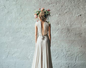 Open Back Wedding Dress Camille Silk Bridal Gown With Hand Embroidery Illusion