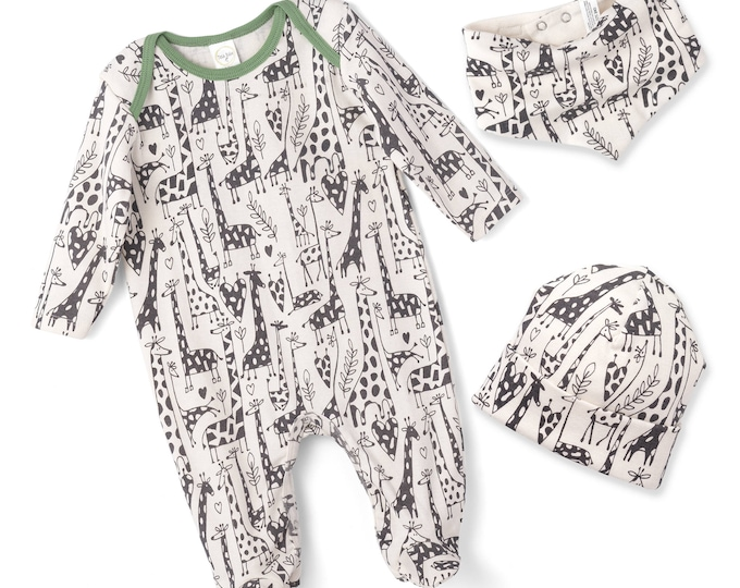 Newborn Baby Boy Coming Home Outfit, Infant Boy Romper, Baby Boy Giraffe Onesie Romper, Baby Bodysuit, Giraffe, TesaBabe