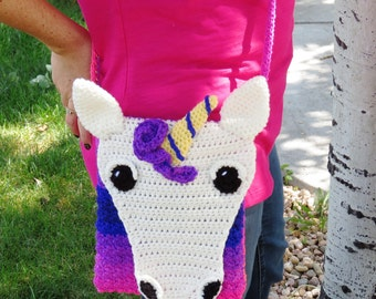 Unicorn Crossbody Bag Pattern -- CROCHET PATTERN ONLY -- Unicorn purse pattern -- unicorn shoulder bag -- unicorn rainbow pattern