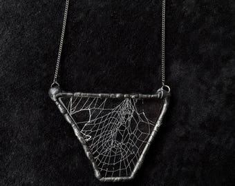 Real spider web necklace. Triangle spiderweb cobweb unique handmade pendant necklace. Spider's web transparent resin rustic necklace.
