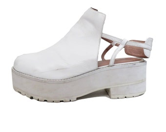Jeffrey Campbell White Leather Clogger Platform Size 9.5