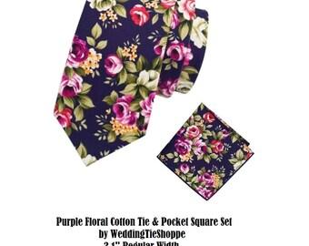 Purple Pink Tie Wedding Tie Floral Tie Pocket Square Cotton Flower Groomsman Wedding Necktie Regular 3.1 Inch Groomsmen Usher Best Man