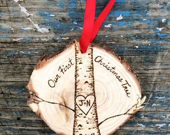 Our First Christmas Tree wood burned ornament wood slice