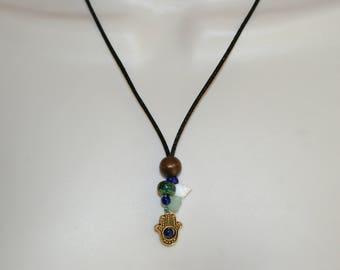 Golden Hamsa Hand Bead Necklace