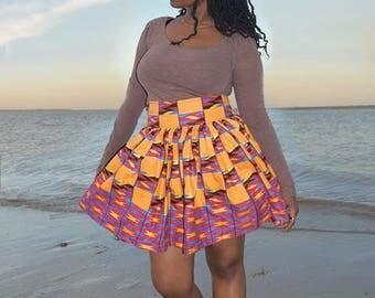 Short handmade red and orange afrikan print skirt