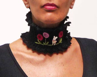Black Collar Neckwarmer with a Little Deer and Big Flowers - Crochet Wool Choker Necklace with Fawn, Bambi, Deer - OH DEER