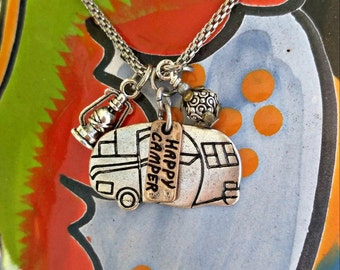 Stainless Steel Happy Camper Necklace, Camping NeCklAce, Glamping, Trailer NecklaCe, CaMping Gift